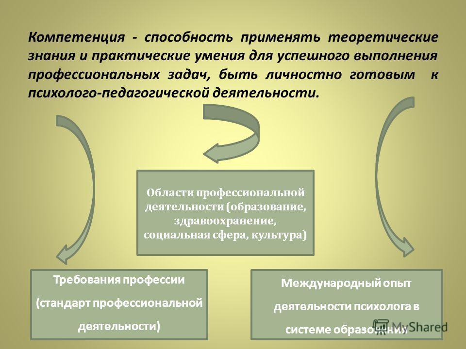 Компетенция - способность применять теоретические знания и практические умения для успешного выполнения профессиональных задач, быть личностно готовым к психолого-педагогической деятельности. Требования профессии (стандарт профессиональной деятельнос