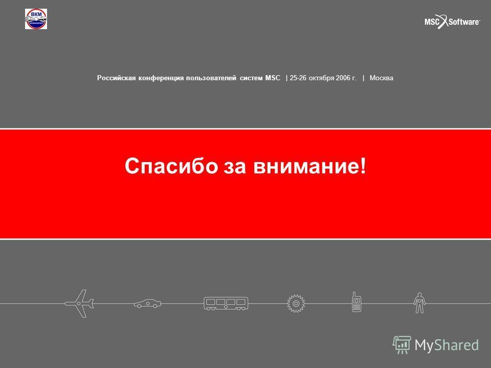 Российская конференция пользователей систем MSC | 25-26 октября 2006 г. | Москва Спасибо за внимание!