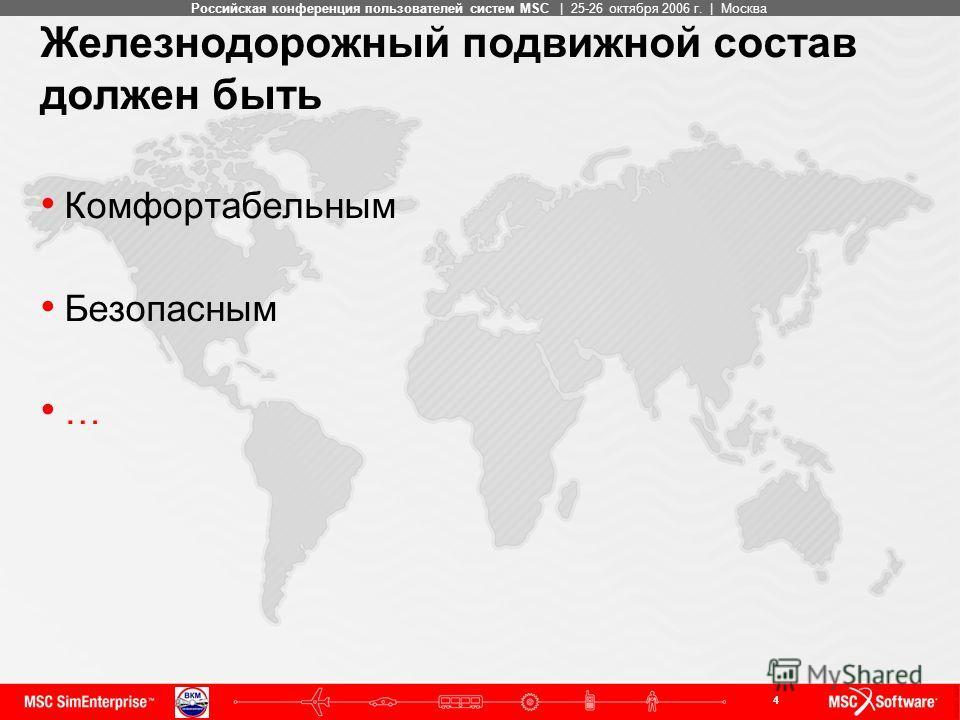 4 MSC ConfidentialРоссийская конференция пользователей систем MSC | 25-26 октября 2006 г. | Москва Железнодорожный подвижной состав должен быть Комфортабельным Безопасным …