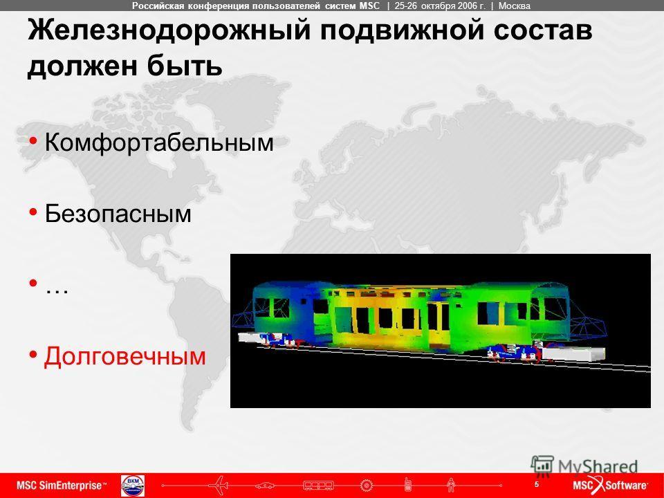 5 MSC ConfidentialРоссийская конференция пользователей систем MSC | 25-26 октября 2006 г. | Москва Железнодорожный подвижной состав должен быть Комфортабельным Безопасным … Долговечным