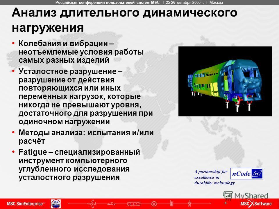 6 MSC ConfidentialРоссийская конференция пользователей систем MSC | 25-26 октября 2006 г. | Москва Анализ длительного динамического нагружения Колебания и вибрации – неотъемлемые условия работы самых разных изделий Усталостное разрушение – разрушение