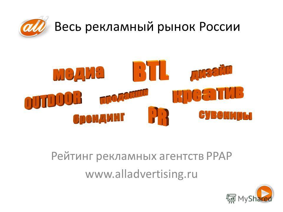 Весь рекламный рынок России Рейтинг рекламных агентств РРАР www.alladvertising.ru