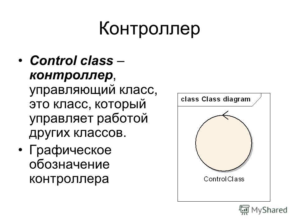 Контроллер Control class – контроллер, управляющий класс, это класс, который управляет работой других классов. Графическое обозначение контроллера