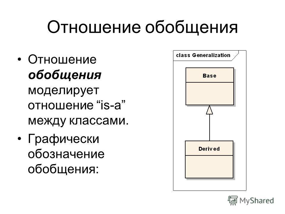 Отношение обобщения Отношение обобщения моделирует отношение is-a между классами. Графически обозначение обобщения: