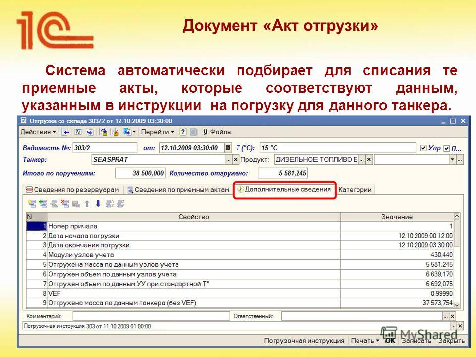 Система автоматически подбирает для списания те приемные акты, которые соответствуют данным, указанным в инструкции на погрузку для данного танкера. Документ «Акт отгрузки»
