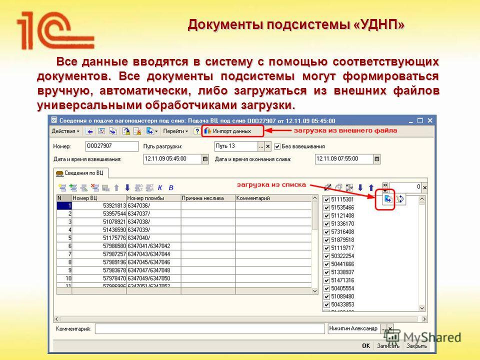 Документы подсистемы «УДНП» Все данные вводятся в систему с помощью соответствующих документов. Все документы подсистемы могут формироваться вручную, автоматически, либо загружаться из внешних файлов универсальными обработчиками загрузки.