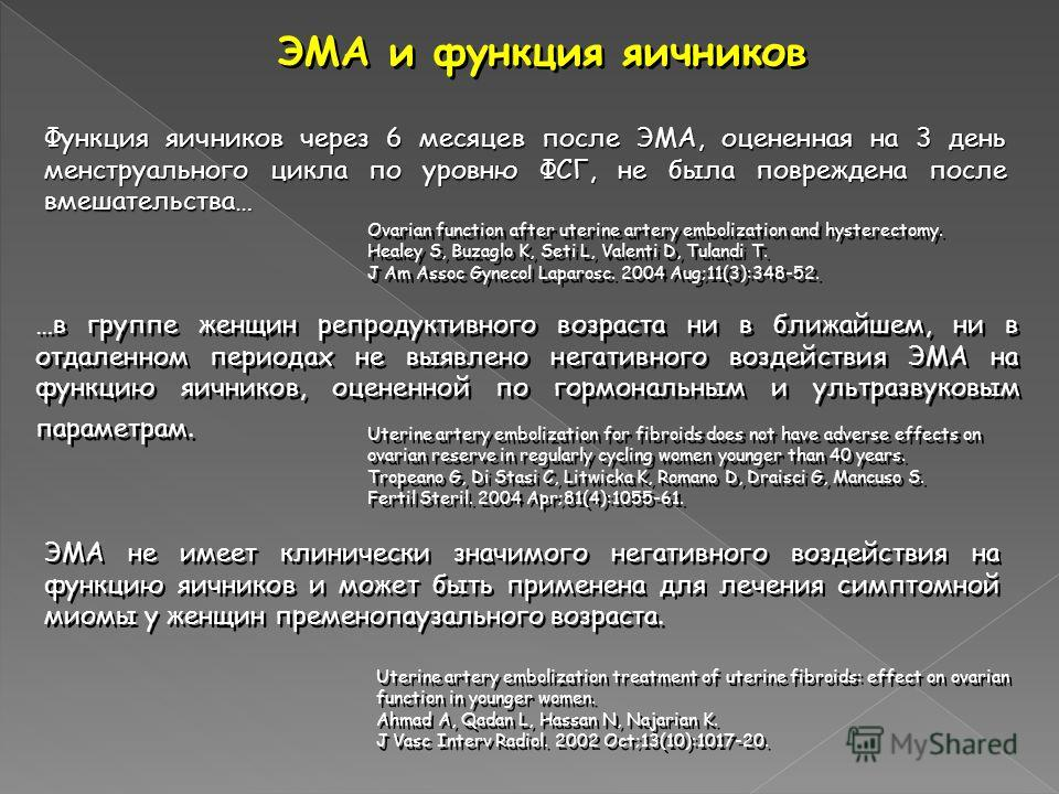 ЭМА и функция яичников Ovarian function after uterine artery embolization and hysterectomy. Healey S, Buzaglo K, Seti L, Valenti D, Tulandi T. J Am Assoc Gynecol Laparosc. 2004 Aug;11(3):348-52. Ovarian function after uterine artery embolization and