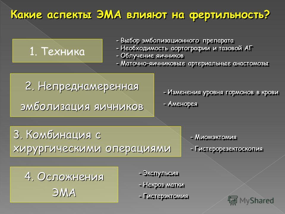 Какие аспекты ЭМА влияют на фертильность? - Изменения уровня гормонов в крови - Аменорея - Изменения уровня гормонов в крови - Аменорея - Миомэктомия - Гистерорезектоскопия - Миомэктомия - Гистерорезектоскопия - Экспульсия - Некроз матки - Гистерэкто