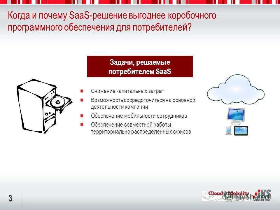 3 Когда и почему SaaS-решение выгоднее коробочного программного обеспечения для потребителей? Снижение капитальных затрат Возможность сосредоточиться на основной деятельности компании Обеспечение мобильности сотрудников Обеспечение совместной работы