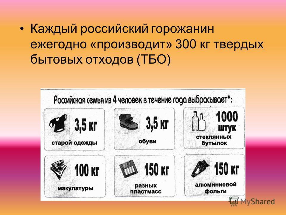 Каждый российский горожанин ежегодно «производит» 300 кг твердых бытовых отходов (ТБО)