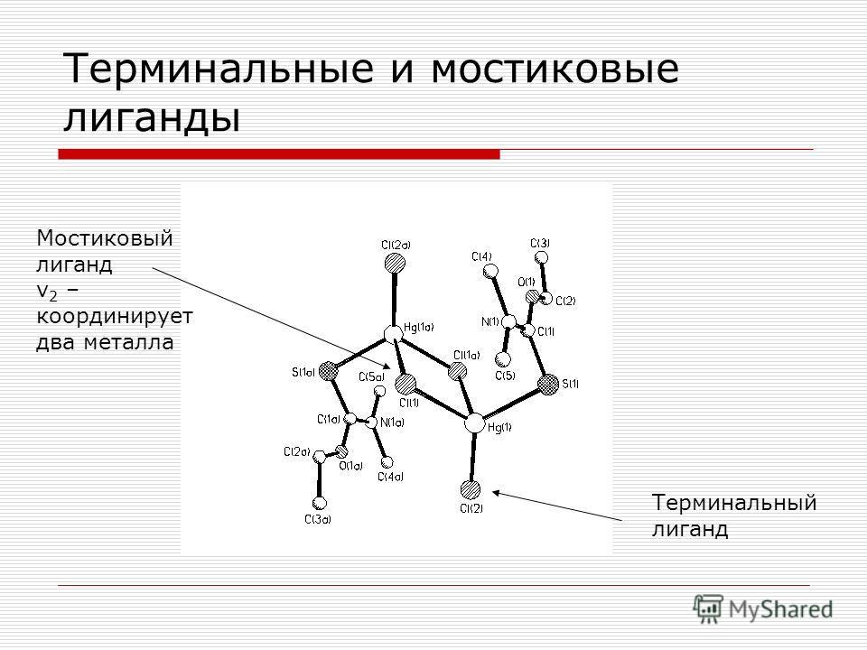 Терминальные и мостиковые лиганды Терминальный лиганд Мостиковый лиганд ν 2 – координирует два металла