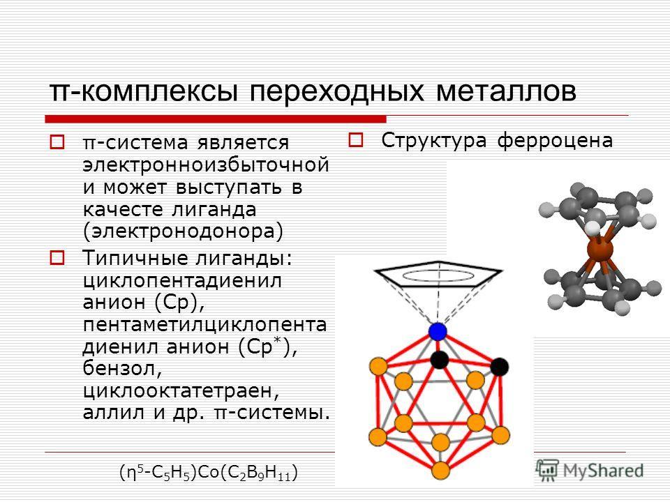 π-комплексы переходных металлов π -система является электронноизбыточной и может выступать в качесте лиганда (электронодонора) Типичные лиганды: циклопентадиенил анион (Ср), пентаметилциклопента диенил анион (Ср * ), бензол, циклооктатетраен, аллил и
