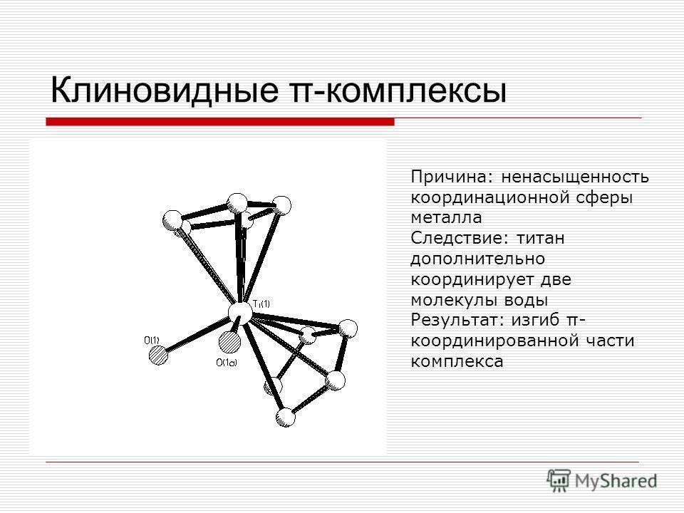 Клиновидные π-комплексы Причина: ненасыщенность координационной сферы металла Следствие: титан дополнительно координирует две молекулы воды Результат: изгиб π - координированной части комплекса