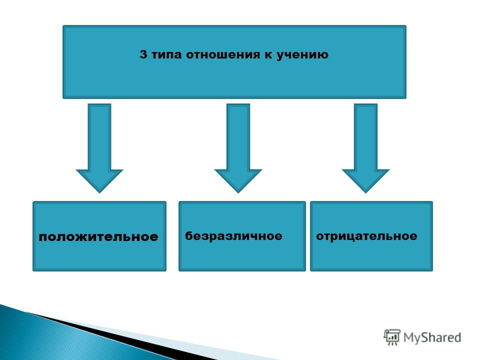 3 типа отношения к учению положительное безразличноеотрицательное
