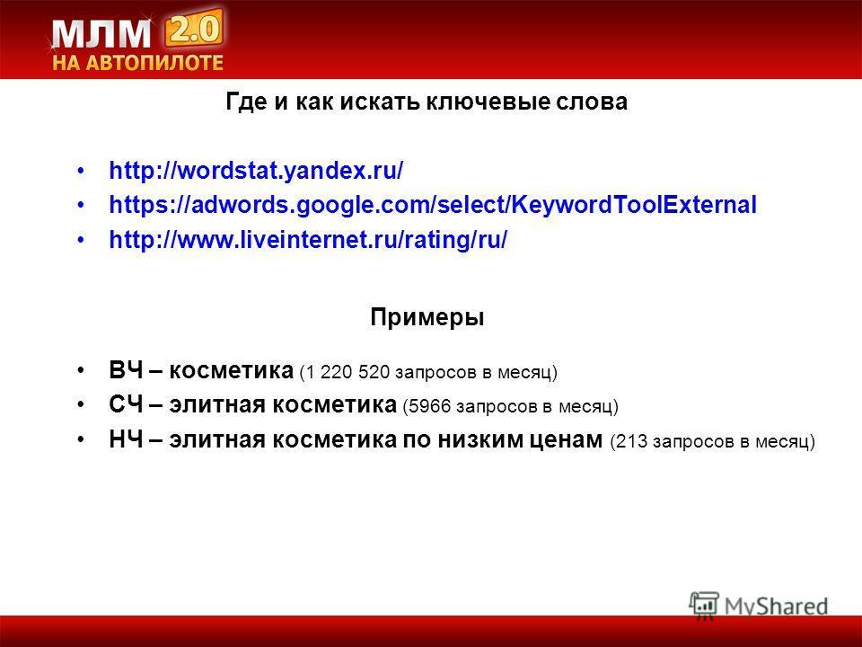 ВЧ – косметика (1 220 520 запросов в месяц) СЧ – элитная косметика (5966 запросов в месяц) НЧ – элитная косметика по низким ценам (213 запросов в месяц) Где и как искать ключевые слова http://wordstat.yandex.ru/ https://adwords.google.com/select/Keyw