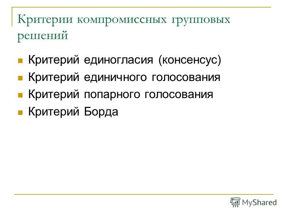 Критерии компромиссных групповых решений Критерий единогласия (консенсус) Критерий единичного голосования Критерий попарного голосования Критерий Борда