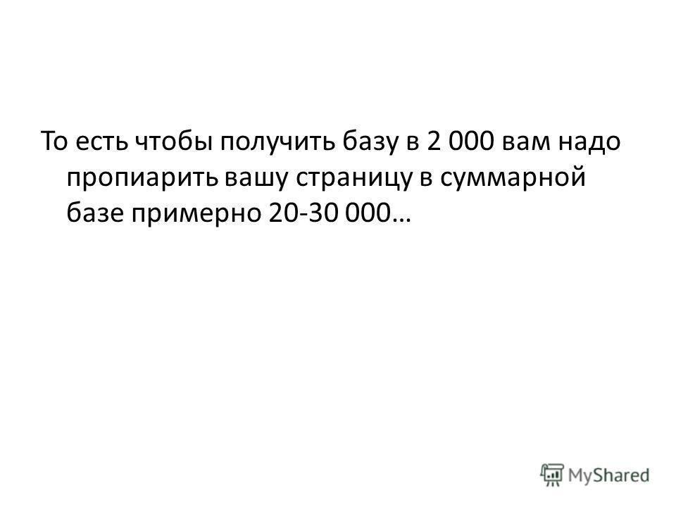 То есть чтобы получить базу в 2 000 вам надо пропиарить вашу страницу в суммарной базе примерно 20-30 000…