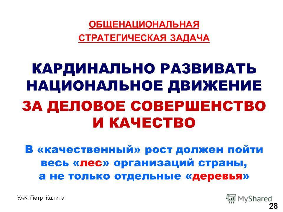 УАК, Петр Калита ОБЩЕНАЦИОНАЛЬНАЯ СТРАТЕГИЧЕСКАЯ ЗАДАЧА КАРДИНАЛЬНО РАЗВИВАТЬ НАЦИОНАЛЬНОЕ ДВИЖЕНИЕ ЗА ДЕЛОВОЕ СОВЕРШЕНСТВО И КАЧЕСТВО В «качественный» рост должен пойти весь «лес» организаций страны, а не только отдельные «деревья» 28