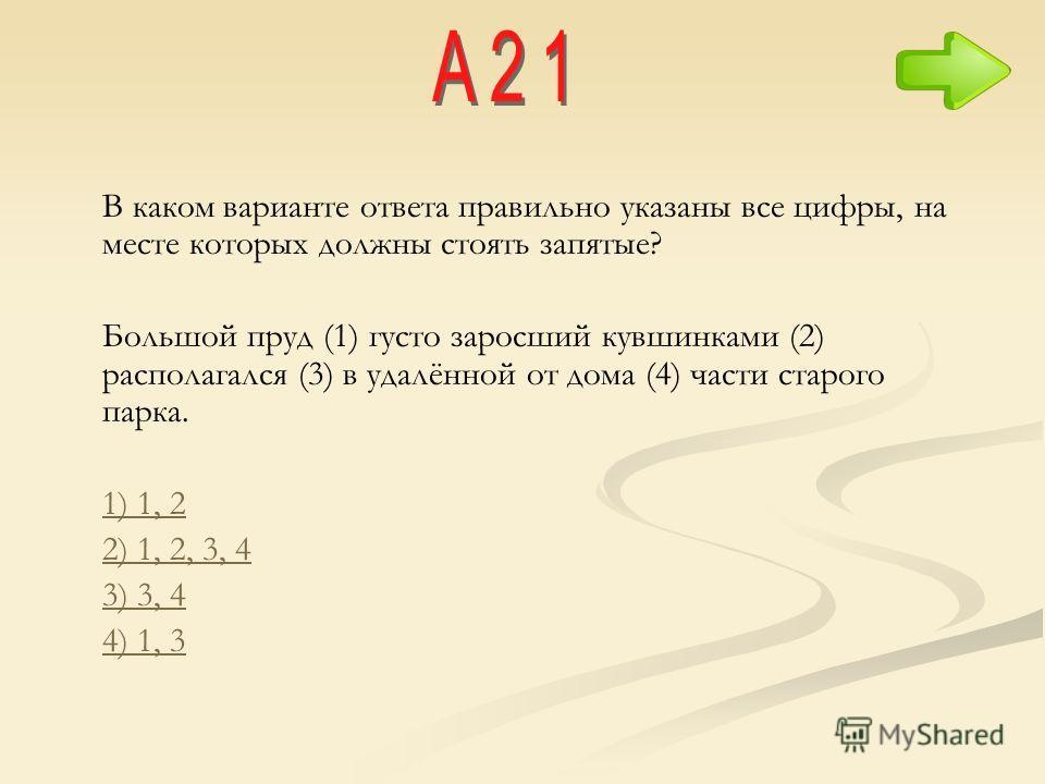 В каком варианте ответа правильно указаны все цифры, на месте которых должны стоять запятые? Большой пруд (1) густо заросший кувшинками (2) располагался (3) в удалённой от дома (4) части старого парка. 1) 1, 2 2) 1, 2, 3, 4 3) 3, 4 4) 1, 3