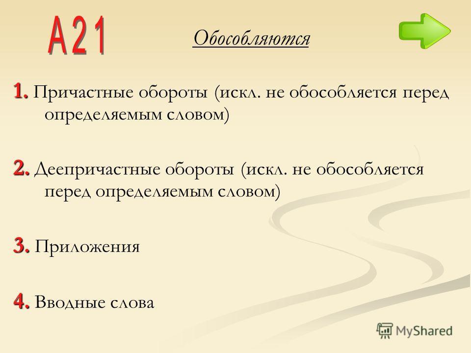 Обособляются 1. 1. Причастные обороты (искл. не обособляется перед определяемым словом) 2. 2. Деепричастные обороты (искл. не обособляется перед определяемым словом) 3. 3. Приложения 4. 4. Вводные слова