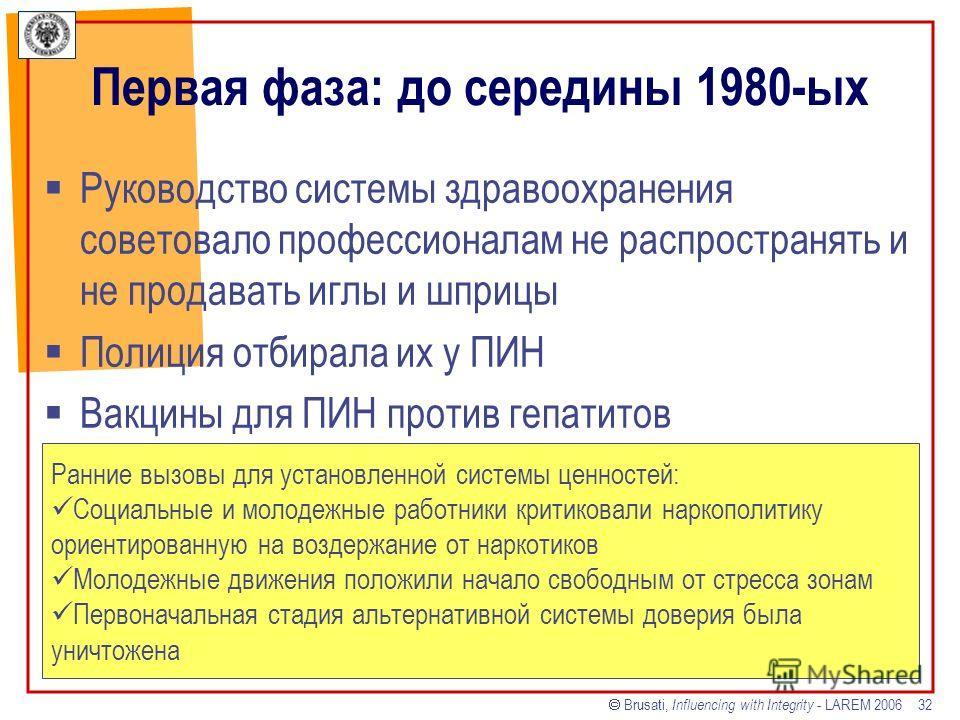 Brusati, Influencing with Integrity - LAREM 2006 32 Первая фаза: до середины 1980-ых Руководство системы здравоохранения советовало профессионалам не распространять и не продавать иглы и шприцы Полиция отбирала их у ПИН Вакцины для ПИН против гепатит