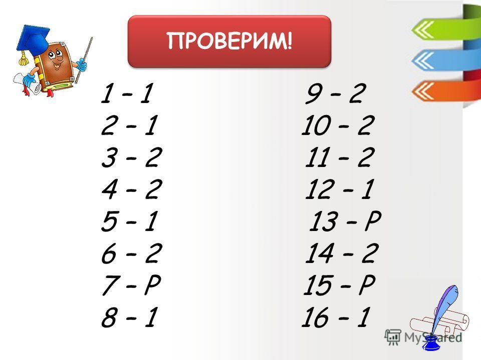 ПРОВЕРИМ! 1 – 1 9 – 2 2 – 1 10 – 2 3 – 2 11 – 2 4 – 2 12 – 1 5 – 1 13 – Р 6 – 2 14 – 2 7 – Р 15 – Р 8 – 1 16 – 1