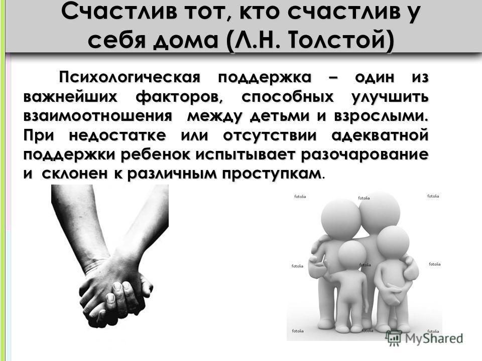 Счастлив тот, кто счастлив у себя дома (Л.Н. Толстой) Психологическая поддержка – один из важнейших факторов, способных улучшить взаимоотношения между детьми и взрослыми. При недостатке или отсутствии адекватной поддержки ребенок испытывает разочаров