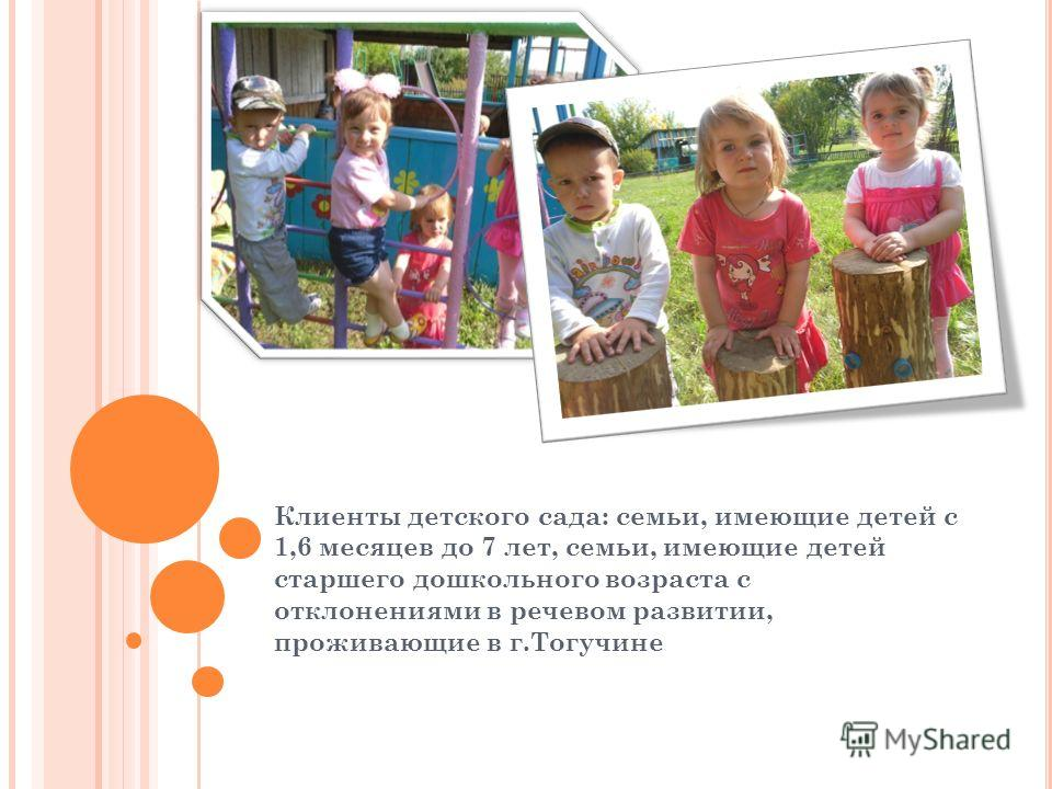 Клиенты детского сада: семьи, имеющие детей с 1,6 месяцев до 7 лет, семьи, имеющие детей старшего дошкольного возраста с отклонениями в речевом развитии, проживающие в г.Тогучине