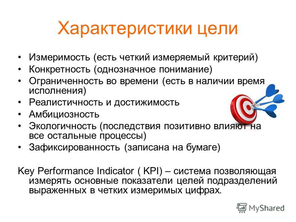 Характеристики цели Измеримость (есть четкий измеряемый критерий) Конкретность (однозначное понимание) Ограниченность во времени (есть в наличии время исполнения) Реалистичность и достижимость Амбициозность Экологичность (последствия позитивно влияют