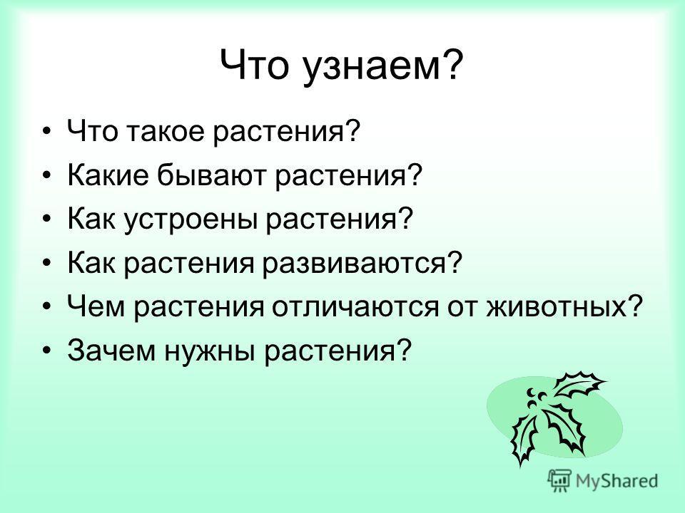 Что узнаем? Что такое растения? Какие бывают растения? Как устроены растения? Как растения развиваются? Чем растения отличаются от животных? Зачем нужны растения?