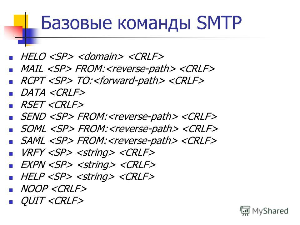 Базовые команды SMTP HELO MAIL FROM: RCPT TO: DATA RSET SEND FROM: SOML FROM: SAML FROM: VRFY EXPN HELP NOOP QUIT