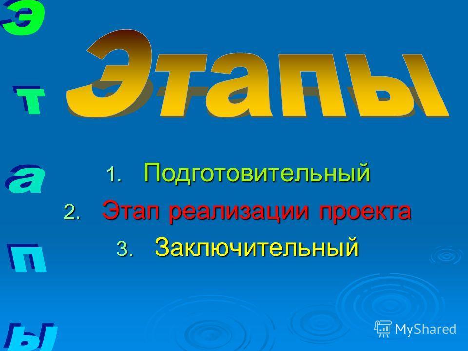 1. Подготовительный 2. Этап реализации проекта 3. Заключительный