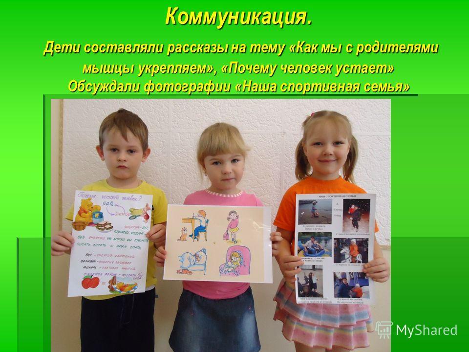 Коммуникация. Дети составляли рассказы на тему «Как мы с родителями мышцы укрепляем», «Почему человек устает» Обсуждали фотографии «Наша спортивная семья»