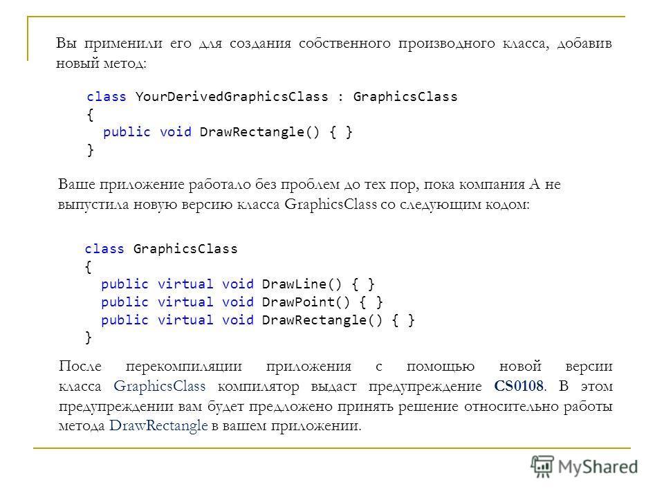 Вы применили его для создания собственного производного класса, добавив новый метод: class YourDerivedGraphicsClass : GraphicsClass { public void DrawRectangle() { } } Ваше приложение работало без проблем до тех пор, пока компания А не выпустила нову