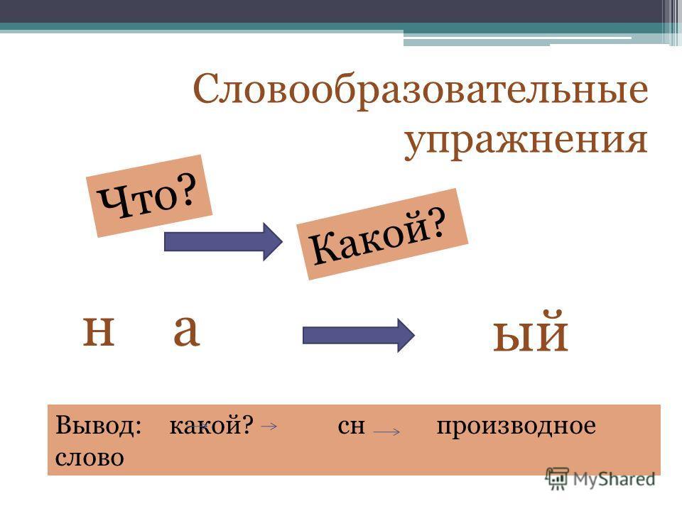 Словообразовательные упражнения Какой? Что? на ый Вывод: какой? сн производное слово