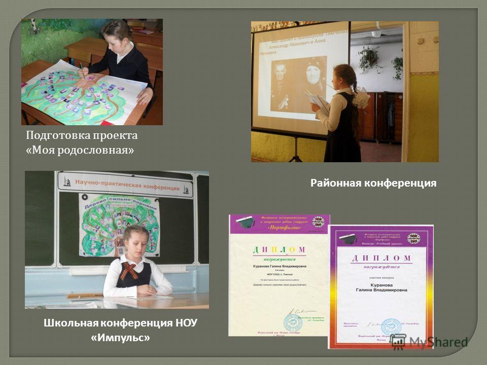 Школьная конференция НОУ «Импульс» Районная конференция Подготовка проекта « Моя родословная »