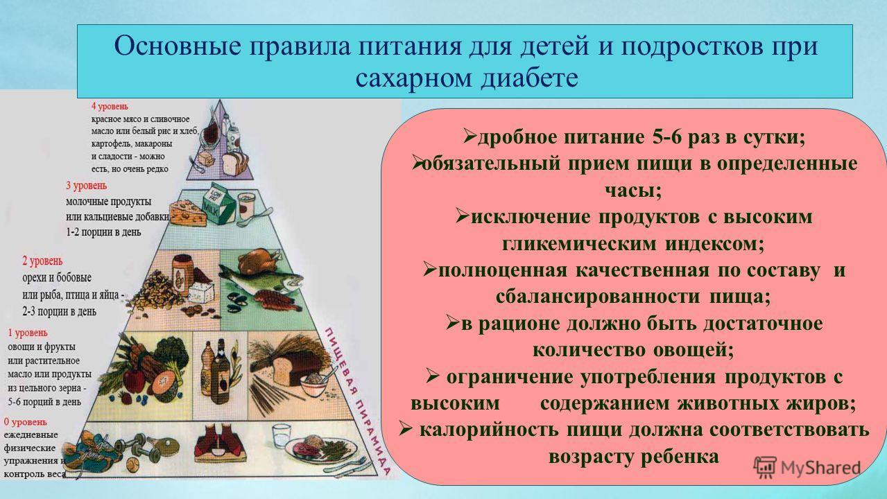 дробное питание 5-6 раз в сутки; обязательный прием пищи в определенные часы; исключение продуктов с высоким гликемическим индексом; полноценная качественная по составу и сбалансированности пища; в рационе должно быть достаточное количество овощей; о