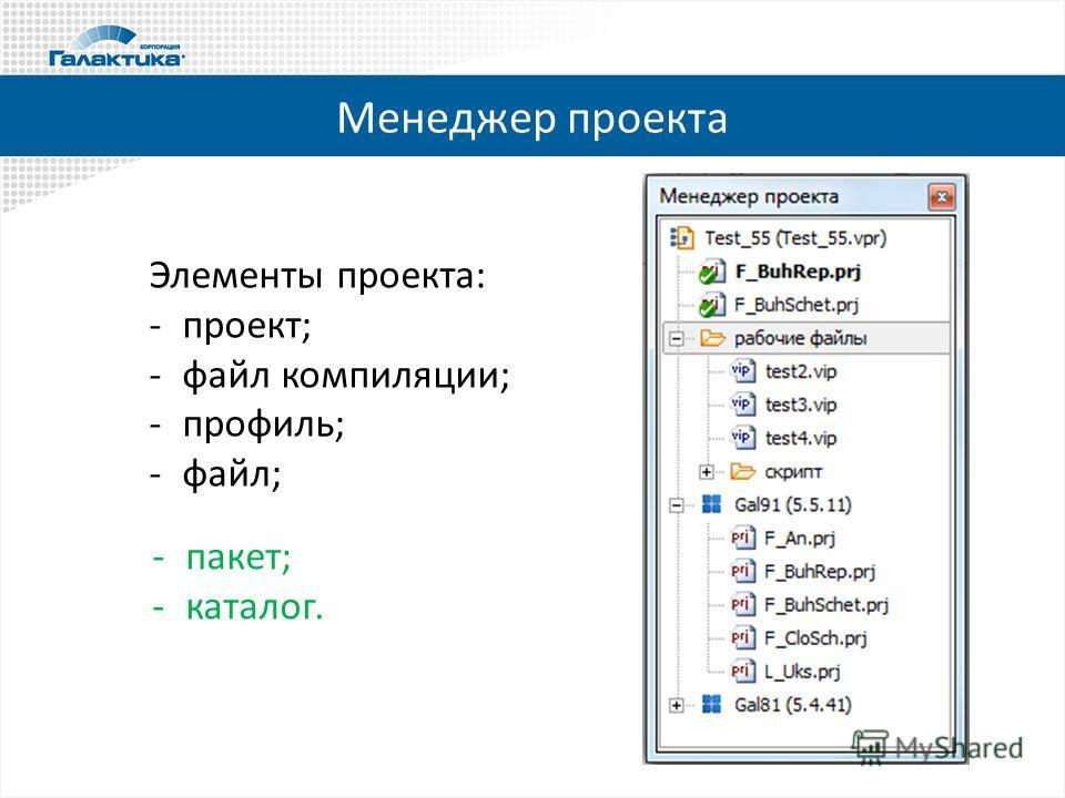 Менеджер проекта Элементы проекта: -проект; -файл компиляции; -профиль; -файл; -пакет; -каталог.