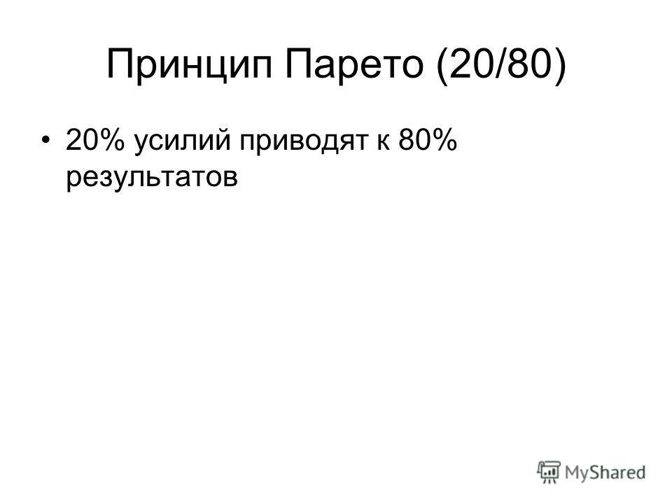 Принцип Парето (20/80) 20% усилий приводят к 80% результатов