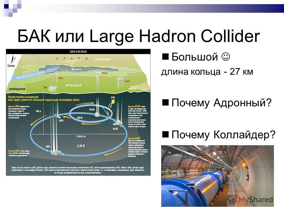 БАК или Large Hadron Collider Большой длина кольца - 27 км Почему Адронный? Почему Коллайдер?