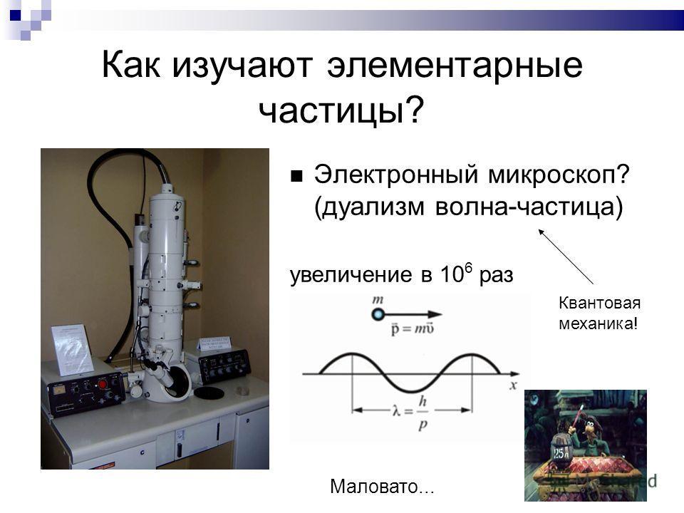 Как изучают элементарные частицы? Электронный микроскоп? (дуализм волна-частица) увеличение в 10 6 раз Маловато... Квантовая механика!