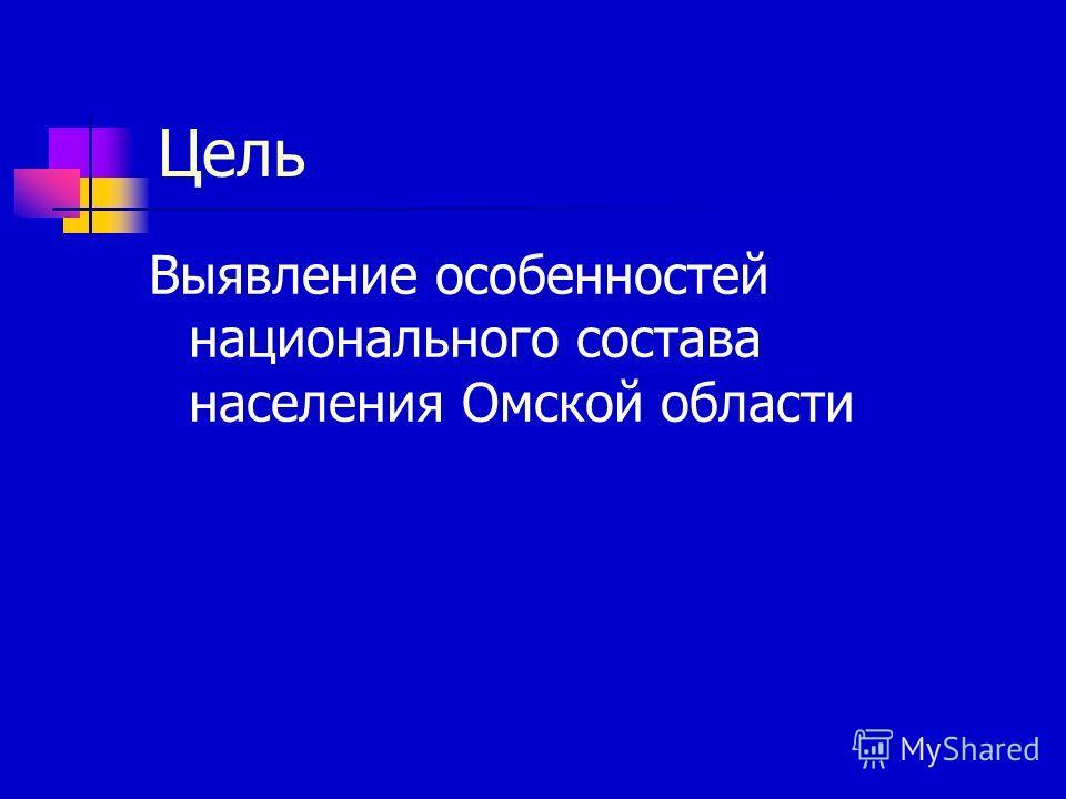 Цель Выявление особенностей национального состава населения Омской области