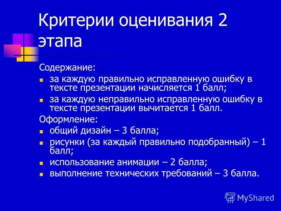 Критерии оценивания 2 этапа Содержание: за каждую правильно исправленную ошибку в тексте презентации начисляется 1 балл; за каждую неправильно исправленную ошибку в тексте презентации вычитается 1 балл. Оформление: общий дизайн – 3 балла; рисунки (за