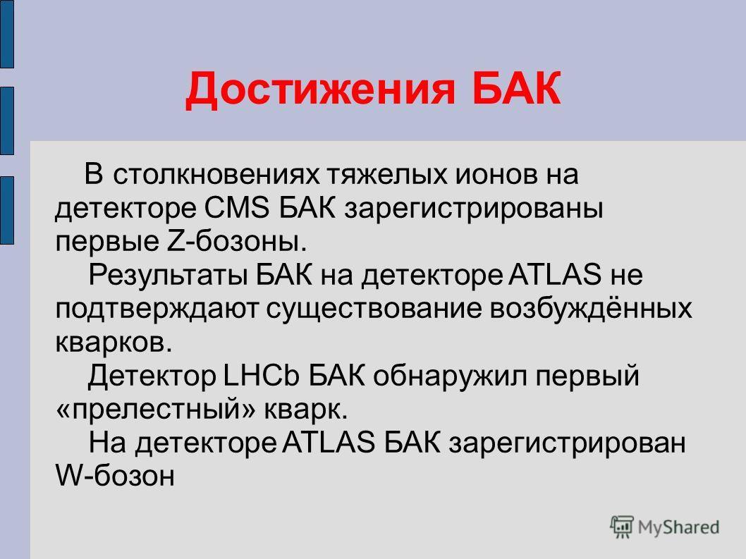 Достижения БАК В столкновениях тяжелых ионов на детекторе CMS БАК зарегистрированы первые Z-бозоны. Результаты БАК на детекторе ATLAS не подтверждают существование возбуждённых кварков. Детектор LHCb БАК обнаружил первый «прелестный» кварк. На детект