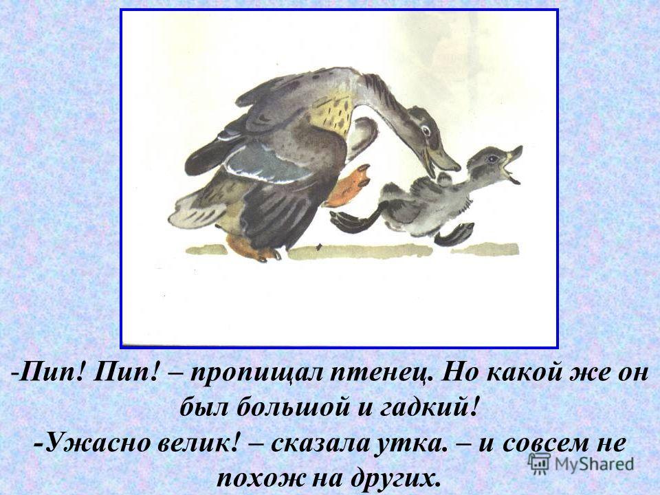 - -Пип! Пип! – пропищал птенец. Но какой же он был большой и гадкий! -Ужасно велик! – сказала утка. – и совсем не похож на других.