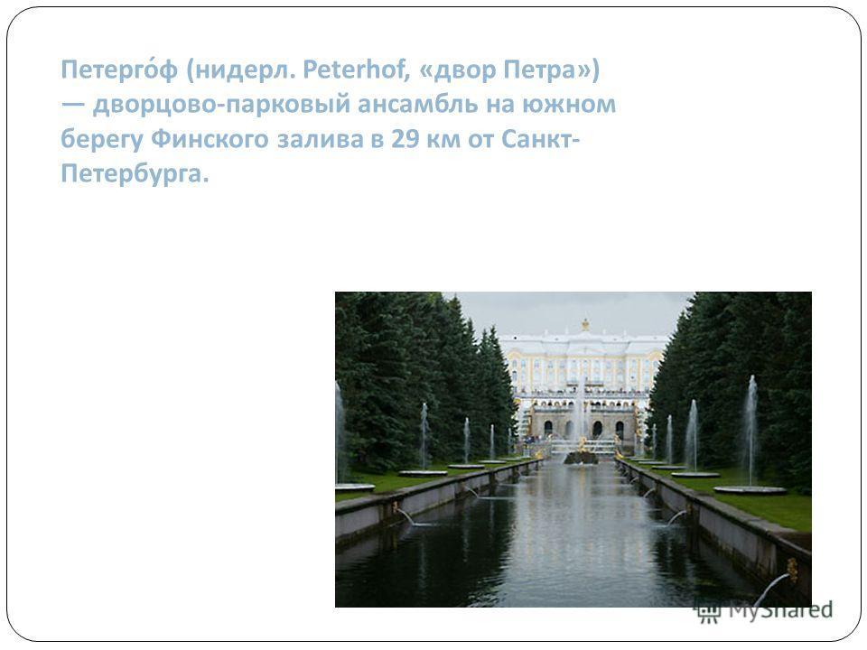 Петерго́ф (нидерл. Peterhof, «двор Петра») дворцово-парковый ансамбль на южном берегу Финского залива в 29 км от Санкт- Петербурга.