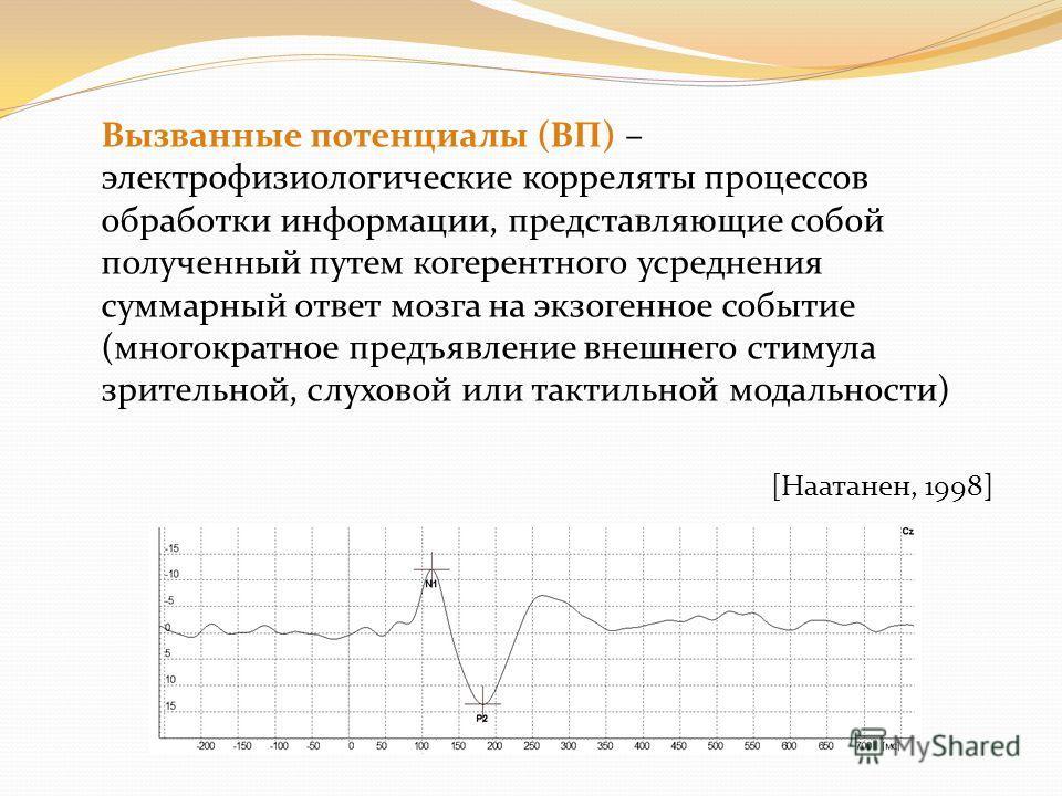 Вызванные потенциалы (ВП) – электрофизиологические корреляты процессов обработки информации, представляющие собой полученный путем когерентного усреднения суммарный ответ мозга на экзогенное событие (многократное предъявление внешнего стимула зритель