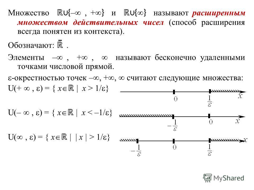 Множество { –, + } и { } называют расширенным множеством действительных чисел (способ расширения всегда понятен из контекста). Обозначают: ̄. Элементы –, +, называют бесконечно удаленными точками числовой прямой. -окрестностью точек –, +, считают сле