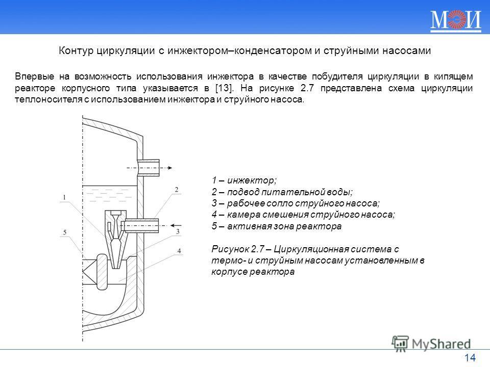 14 Впервые на возможность использования инжектора в качестве побудителя циркуляции в кипящем реакторе корпусного типа указывается в [13]. На рисунке 2.7 представлена схема циркуляции теплоносителя с использованием инжектора и струйного насоса. Контур