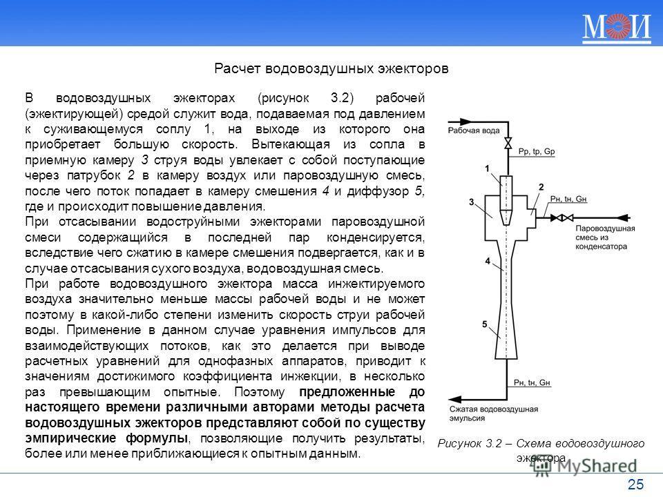 25 Расчет водовоздушных эжекторов В водовоздушных эжекторах (рисунок 3.2) рабочей (эжектирующей) средой служит вода, подаваемая под давлением к суживающемуся соплу 1, на выходе из которого она приобретает большую скорость. Вытекающая из сопла в прием